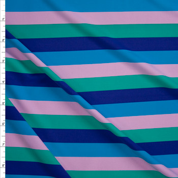 "Blue, Purple, Green, and Blush 3/4"" Horizontal Stripe Designer Nylon/Spandex from Manhattan Beachwear Fabric By The Yard"