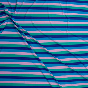 "Blue, Purple, Green, and Blush 3/4"" Horizontal Stripe Designer Nylon/Spandex from Manhattan Beachwear Fabric By The Yard - Wide shot"