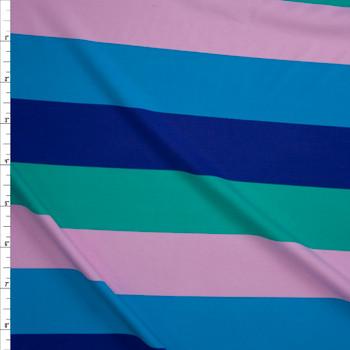 "Blue, Purple, Green, and Blush 1.75"" Horizontal Stripe Designer Nylon/Spandex from Manhattan Beachwear Fabric By The Yard"