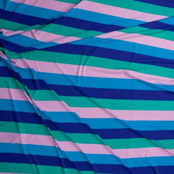 "Blue, Purple, Green, and Blush 1.75"" Horizontal Stripe Designer Nylon/Spandex from Manhattan Beachwear Fabric By The Yard - Wide shot"