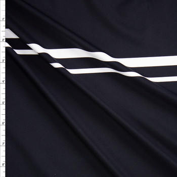 White on Black Double Stripe Designer Nylon/Spandex from Manhattan Beachwear Fabric By The Yard