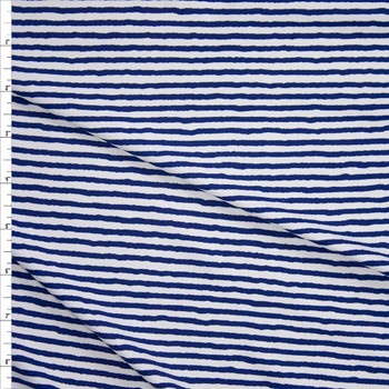 Blue on White Horizontal Paint Stripe Designer Nylon/Spandex from Manhattan Beachwear Fabric By The Yard