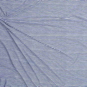 Blue on White Horizontal Paint Stripe Designer Nylon/Spandex from Manhattan Beachwear Fabric By The Yard - Wide shot