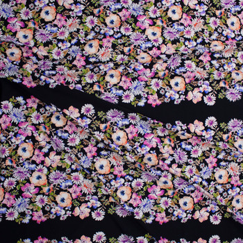 Watercolor Wide Floral Horizontal Stripe on Black Designer Nylon/Spandex from Manhattan Beachwear Fabric By The Yard - Wide shot