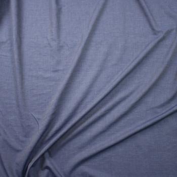 Indigo Blue Rayon Chambray Fabric By The Yard - Wide shot