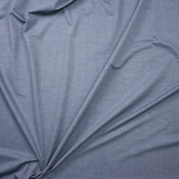 Medium Slate Blue Tissue Weight Chambray Fabric By The Yard - Wide shot