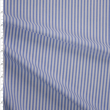 Light Blue and White Vertical Stripe Chambray Fabric By The Yard