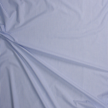 Light Blue and White Vertical Stripe Chambray Fabric By The Yard - Wide shot