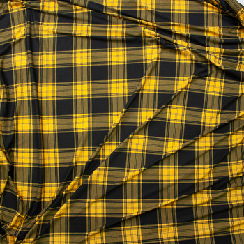 Black and Goldenrod Plaid Double Brushed Poly/Spandex Fabric By The Yard - Wide shot