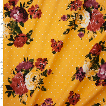 Rust and Magenta Floral on White on Yellow Polka Dot Double Brushed Poly/Spandex Fabric By The Yard