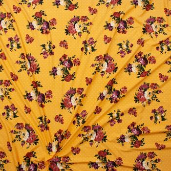 Rust and Magenta Floral on White on Yellow Polka Dot Double Brushed Poly/Spandex Fabric By The Yard - Wide shot