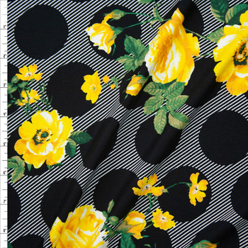 Yellow Floral on Black and White Dogs and Stripes Double Brushed Poly/Spandex Fabric By The Yard