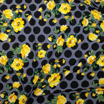 Yellow Floral on Black and White Dogs and Stripes Double Brushed Poly/Spandex Fabric By The Yard - Wide shot