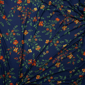 Orange, Green, and Yellow Grunge Floral on Navy Brushed Poly/Spandex Fabric By The Yard - Wide shot