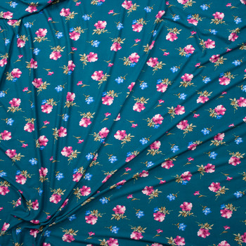 Pink and Blue Flora on Jade Green Double Brushed Poly/Spandex Fabric By The Yard - Wide shot