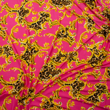 Cheetah Print and Gold Scrollwork on Bright Pink Double Brushed Poly/Spandex Fabric By The Yard - Wide shot