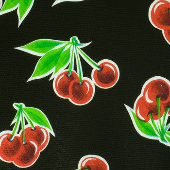 """""""Stella"""" Cherries on Black Oilcloth"""