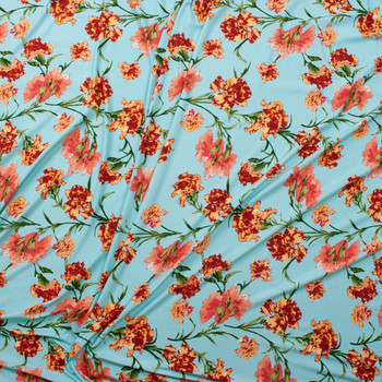 Orange and Coral Flowers in Robins Egg Blue Double Brushed Poly/Spandex Fabric By The Yard - Wide shot