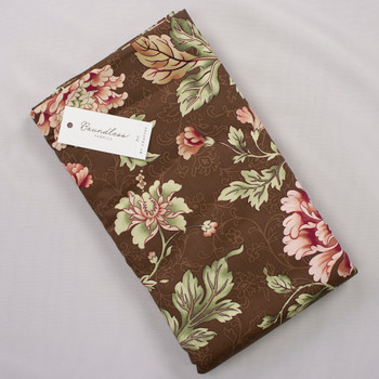 Boundless Quilter's Cotton Floral Brown (Bargain 6y Cut) Fabric By The Yard