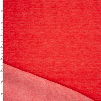 Bright Red Heather Poly/Cotton Sweatshirt Fleece Fabric By The Yard