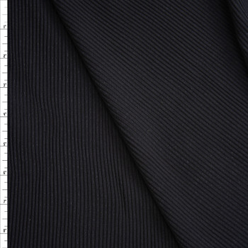 Black Midweight Ribbed Knit Fabric By The Yard