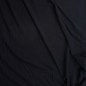 Black Midweight Ribbed Knit Fabric By The Yard - Wide shot
