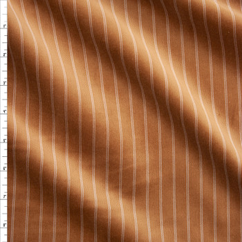 Vertical Pinstripe on Caramel Cotton Velvet Fabric By The Yard