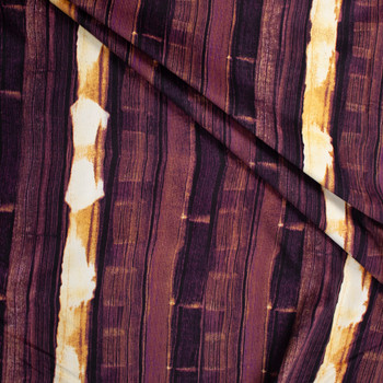 Wine and Ivory Vertical Brushstroke Grunge Stretch Baby Wale Corduroy Fabric By The Yard - Wide shot