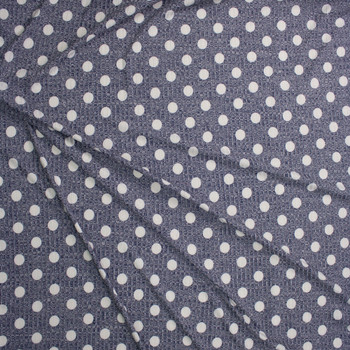 White Dots on Heather Navy Ribbed Sweater Knit Fabric By The Yard - Wide shot