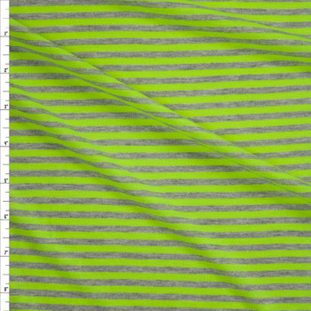 """Neon Yellow and Light Grey 1/4"""" Stripe Rayon Jersey Fabric By The Yard"""