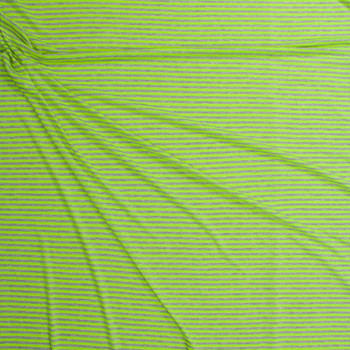 """Neon Yellow and Light Grey 1/4"""" Stripe Rayon Jersey Fabric By The Yard - Wide shot"""