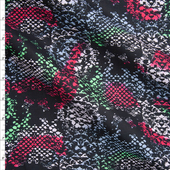 Red. Green, and Grey Blotch Snakeskin Cotton Lawn Fabric By The Yard