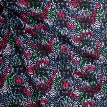 Red. Green, and Grey Blotch Snakeskin Cotton Lawn Fabric By The Yard - Wide shot
