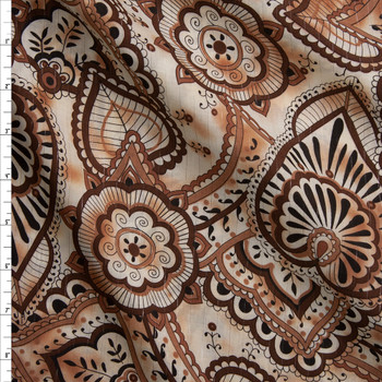 Brown and Tan Ornate Leaves and Scrollwork with Metallic Silver Pinstripe Cotton Lawn Fabric By The Yard
