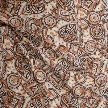 Brown and Tan Ornate Leaves and Scrollwork with Metallic Silver Pinstripe Cotton Lawn Fabric By The Yard - Wide shot