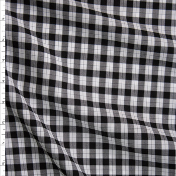 Black, White, and Grey Plaid Cotton Shirting Fabric By The Yard
