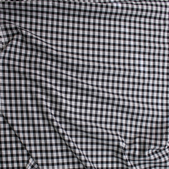 Black, White, and Grey Plaid Cotton Shirting Fabric By The Yard - Wide shot