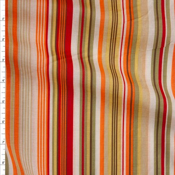 Red, Orange, Avocado, and Yellow Barcode Stripe Cotton Lawn Fabric By The Yard