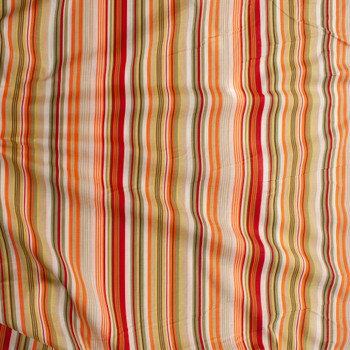 Red, Orange, Avocado, and Yellow Barcode Stripe Cotton Lawn Fabric By The Yard - Wide shot
