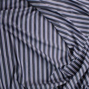 Charcoal, White, Red, and Blue Vertical Stripe Fine Cotton Shirting Fabric By The Yard - Wide shot