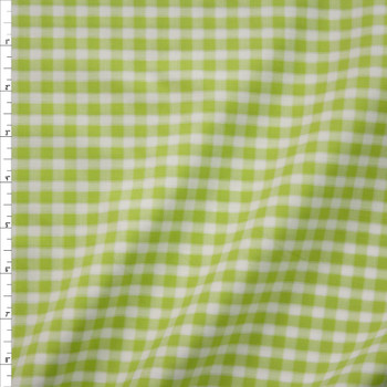Lime and White Plaid Fine Italian Shirting Fabric By The Yard