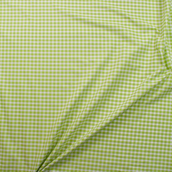 Lime and White Plaid Fine Italian Shirting Fabric By The Yard - Wide shot