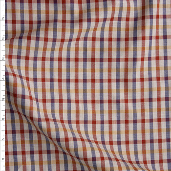Red, Yellow, and Navy Plaid on Tan Fine Italian Twill Fabric By The Yard