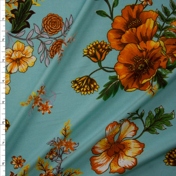 Golden Poppies on Tiffany Blue Double Brushed Poly Spandex Knit Fabric By The Yard