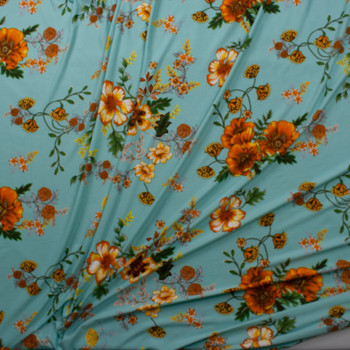 Golden Poppies on Tiffany Blue Double Brushed Poly Spandex Knit Fabric By The Yard - Wide shot