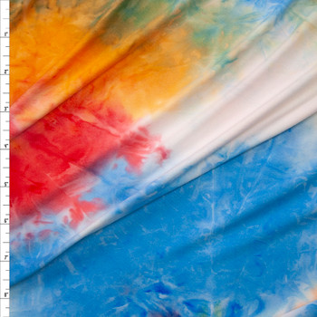 Red, White, Blue, and Orange Tie Dye Double Brushed Poly Spandex Knit Fabric By The Yard