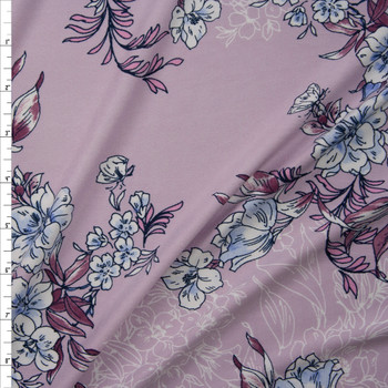 White, Light Blue, and Plum Floral on Pale Lavender Double Brushed Poly Spandex Knit Fabric By The Yard