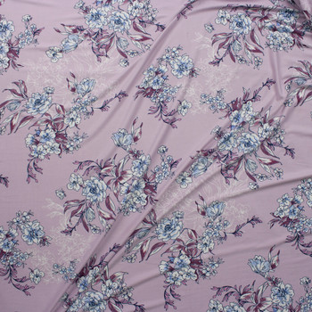 White, Light Blue, and Plum Floral on Pale Lavender Double Brushed Poly Spandex Knit Fabric By The Yard - Wide shot