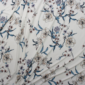 Teal, Pink, and Ivory Floral on Warm White Double Brushed Poly Spandex Knit Fabric By The Yard - Wide shot