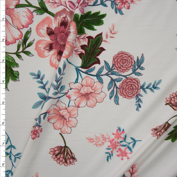 Pink, Green, and Teal Scrolling Floral on Offwhite Double Brushed Poly Spandex Knit Fabric By The Yard